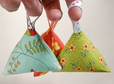 Little Lavender Sachet  A lavender sachet doesn't have to be a specific size or shape.  These little sachets are a triangle.  They even have a little ribbon loop so you can hook it onto something or grab it easy.