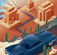 Illustration Isometric - Motor Trend by Kevin House, via Behance