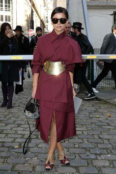 Street Style: Miroslava Duma carries the Fiamma handbag during Paris Fashion Week. www.Ferragamo.com/Fiamma