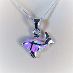 """Sterling Silver Pink Lab Opal Fish Pendant Necklace, 18"""""""