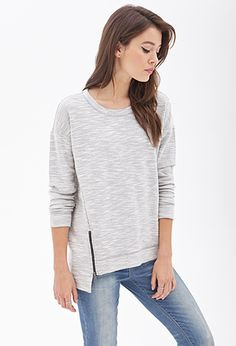 Marled Knit Zippered Top | LOVE21