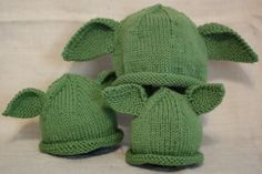 Knitting Pattern For Baby Yoda Hat : Pattern for knitted yoda/dobby hat! Its the same pattern for each, just ...