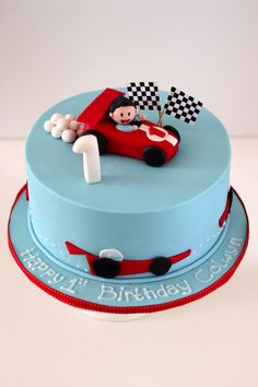 race car theme birthday cake