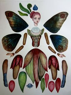 Cynthia Thornton of Green Girl Studios: fairy paper doll. Inspired by: Jack In the Pulpit & Blue Pansy butterfly. Paper Puppets, Paper Toys, Carta Collage, Collage Sheet, Paper Dolls Printable, Green Girl, Diy Origami, Vintage Paper Dolls, Antique Dolls