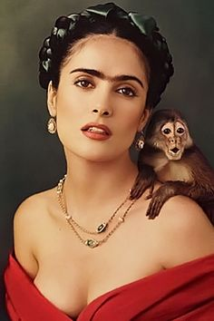 Salma Hayek as Frida Kahlo...love thick eyebrows just not the unibrow...LOL She looks just like Frida Kahlo in this pic, this is for an article I wrote on science, http://www.scientistsdb.com/index.php?title=Bernard_de_Montr%C3%A9al