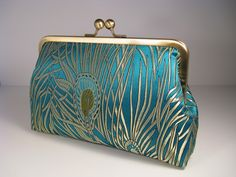 Iridescent Peacock silk Clutch Purse
