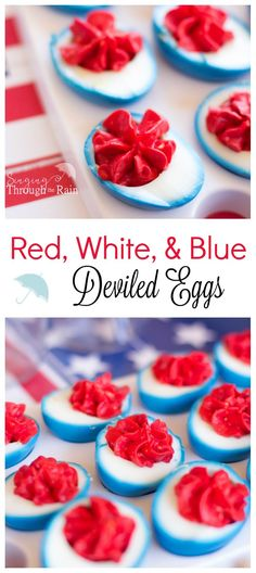 Fourth of July Deviled Eggs: Show your flair and creativity this Fourth of July with these red, white, and blue deviled eggs sure to a be a hit at any summer party or barbecue!