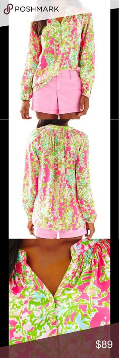LILLY PULITZER ELSA TOP This is one silk shirt with an endless number of year-round looks. You can wear the Lilly Pulitzer Elsa Top in Flamingo Pink Southern Charm tucked in or worn out, sleeves pushed up or blissfully long, styled with a belt over leggings, peeking out from under a blazer, or draped over the top of a pencil skirt. Loose Fitting With Smocking At The Neck 100% Silk Lilly Pulitzer Tops