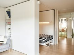 IKEA built a moveable wall to help people live big in tiny apartments - Business Insider Ikea Us, Moving Walls, Movable Walls, Murphy Bed Ikea, Tiny Apartments, Prefab Homes, Living Room Lighting, Basement Remodeling, Apartment Design