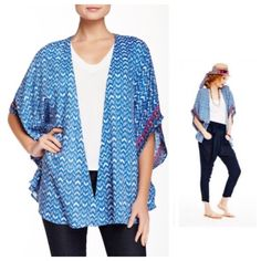 Printed Blue Kimono w/Pink Embroidered Detail This is a darling printed kimono style top! It is a lightweight and comfy material! It is 100% Viscose. It has a gorgeous blue print with the cutest pink embroidered detail! This is so easy to wear! Wear to the beach or over a tank for an effortless boho feel! This is brand new with tags and retails for $68! It is made by beach lunch lounge! Love it! beachlunchlounge Tops