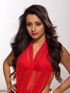 Trisha #Hot Wallpapers in red dress