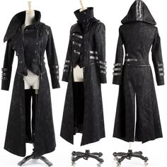 Black Hooded Military Gothic Calvary Jackets Trench Coats Women Men SKU-11401150