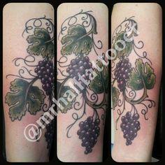 Josh Hall   #mrhalltattooer 972-849-6428  #grapes #grapevine #leaves #texas #texastattoos #traditionaltattoo