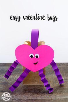 Easy valentine bags crafts valentine crafts for kids и diy v Valentines Day Bags, Valentines Card Holder, Kinder Valentines, Valentine Crafts For Kids, Valentines Day Activities, Valentine Ideas, Valentine Box, Printable Valentine, Homemade Valentines