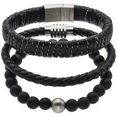 1913 Men's 3-pc. Black Leather Bracelet Set (€25) ❤ liked on Polyvore featuring men's fashion, men's jewelry, men's bracelets, black, mens bracelets, mens leather bracelets, mens watches jewelry and mens magnetic bracelets
