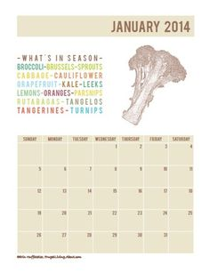Excellent reminder of what's fresh and delicious all month long. And a free printable to boot!