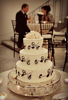 White wedding cake black scroll