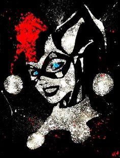 Harley Quinn acrylic splatter Art Print by justinart13