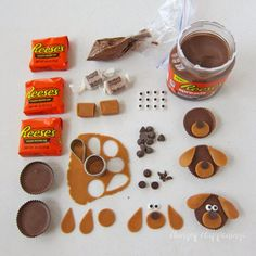 How to make Reese's Cup Puppies for Puppy Love Cupcakes. Tutorial from HungryHappenings.com