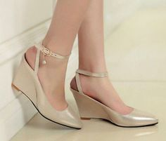 Womens  Fashion Hot Low Pointy Wedge Heel Ankle Strap All-Match Shoes A131