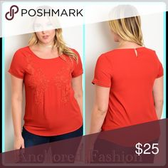 ➕Rust Embroidered Top Beautiful rust colored top. 100% Polyester Tops Tees - Short Sleeve