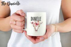 Custom Name Mug, Personalized Mug, Boho Name Mug, Floral Name Mug by handmadepluslovely on Etsy https://www.etsy.com/listing/550645816/custom-name-mug-personalized-mug-boho