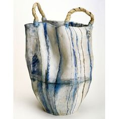 "Brenda Holzke. ""The Wash""  hand built, hand painted ceramic vessel"