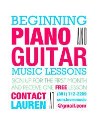 Downloadable template for a poster for piano lessons ...