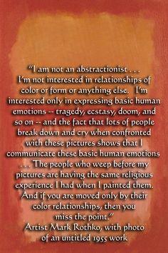 Nog een citaat van Mark Rothko op een achtergrond gebaseerd op een van zijn schilderijen, er zal 1 van de selectie citaten op de folder komen zodat de doelgroep een beeld krijgt van de man Mark Rothko