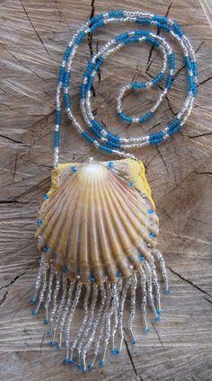 Sea Magic Medicine Bag Amulet Necklace Sea Shell by TheFairyBasket, $25.00