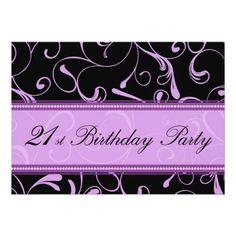 Purple Swirl 21st Birthday Party Invitation Cards
