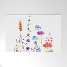colorful wild flowers watercolor painting Mini Art Print by colorandcolor Watercolor Cards, Watercolour Painting, Floral Watercolor, Painting Prints, Art Prints, Painting Art, Simple Watercolor Flowers, Simple Flower Painting, Plants Watercolor