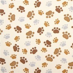 Dog Cream Timeless Treasures Fabric With Funny Paw Prints