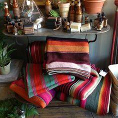 gorgeous vintage handwoven frazadas. use as a...   Asrai Garden
