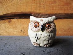 Miniature Ceramic White Spotted Owl Figurine by TealTub on Etsy, $4.50