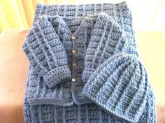 Crochet Baby Boy Sweater Set with Cap and Blanket by meshell609, $65.00