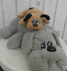 80s Toy Pound Puppy Set of Two Grey Mother and Newborn Brown with Spots Pound Puppies