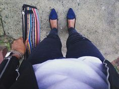 Love tribal print. #clutches #leatherjacket #rippedjeans #outfitoftheday