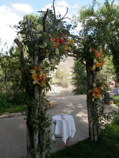 rustic wedding arch decorated generously arches arbors and