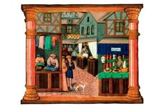 This image shows a 15th-century continental town (taken from the Livre  de Gouvernement des Princes by Gilles de Rome). It shows an apothecary shop well-stocked with red and white jars of medicinal substances; a barber using a cut-throat razor; and a tailor and his apprentice working on clothes. Credit Bridgeman Art Library
