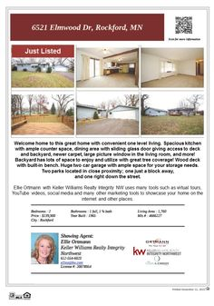6521 Elmwood Dr Rockford MN 55373 Just Listed! This home is located close to shopping, lakes and parks and Lake Rebecca Park Reserve. IDS 883 Rockford schools.