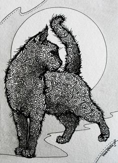 Diana Martin KITTY CAT inkwork on watercolor paper for sale Zentangle New Design