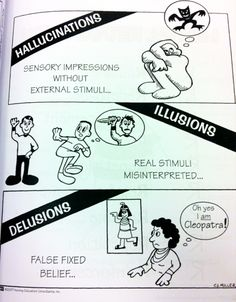 Difference between Hallucinations, Illusions, Delusions. Need to remember this for NCLEX! Nursing School Tips, Nursing Tips, Nursing Notes, Nursing Schools, Psych Nurse, Rn School, Mental Health Nursing, Family Nurse Practitioner, Psychiatric Nursing
