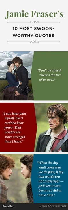 Fraser's 10 Most Swoon-worthy Quotes Outlander fans: Check out 10 of Jamie Fraser's most swoon-worthy quotes.Outlander fans: Check out 10 of Jamie Fraser's most swoon-worthy quotes. Outlander Quotes, Outlander Book Series, Outlander 3, Sam Heughan Outlander, Starz Series, Outlander Tattoos, Outlander Casting, Diana Gabaldon, Gabaldon Outlander