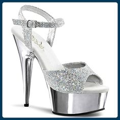 These 6 inch ankle strap sandal have a metallic solid color platform with  diamond glittery to ankle and toe strap.