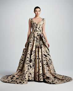 I would change the sweetheart neckline.                       Full-Skirt Rope Brocade Ball Gown by Zac Posen at Neiman Marcus.