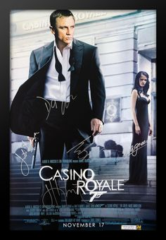 James Bond Casino Royale Cast Signed Movie Poster Wood Framed with COA