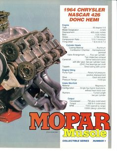 "1964 Mopar 426 DOHC Hemi ""Dooms Day Machine"" - only two were built. Hemi Engine, Car Engine, Dodge Muscle Cars, Performance Engines, Race Engines, Best Classic Cars, Dodge Trucks, Drag Cars, American Muscle Cars"