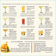 Nine perfect preliminaries to any meal. #vintage #1960s #food #drinks #cocktails #recipes