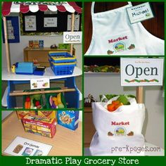 Grocery store dramatic play ideas + free name tag printable via   www.pre-kpages.com #preschool #printables